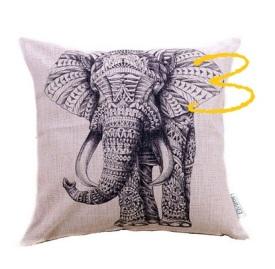 Boho-Kissen, Elefant, anthrazit, Elviros