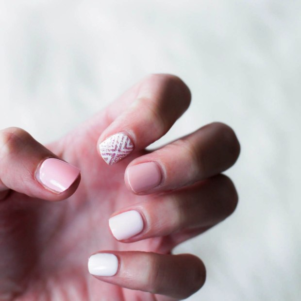 3 Manicure Ideas For Wedding Season - Romatic and Playful Nails. Nail Design nudes and roses. Essie spin the Bottle and blanc (3)